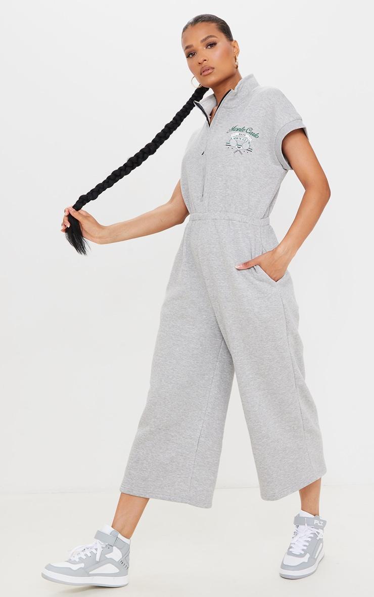 Grey Marl Monte Carlo Zip Sleeveless Sweat Culotte Jumpsuit 3