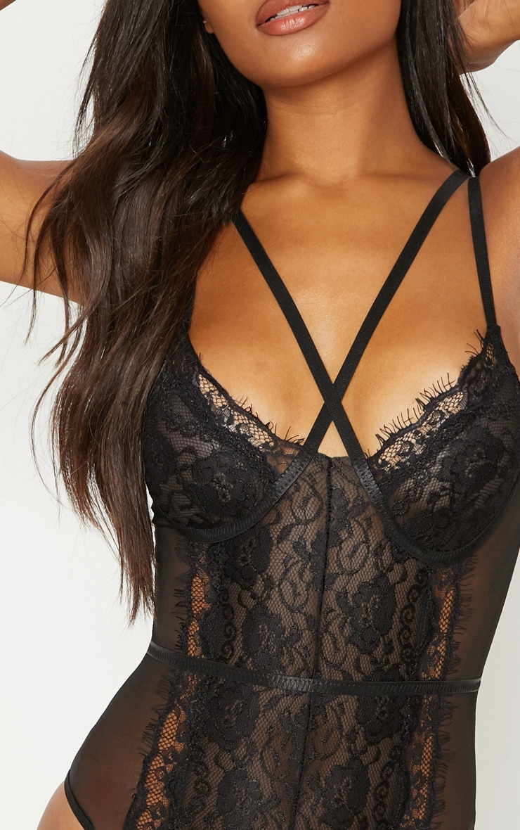 Black Cross Front Mixed Lace Body 7