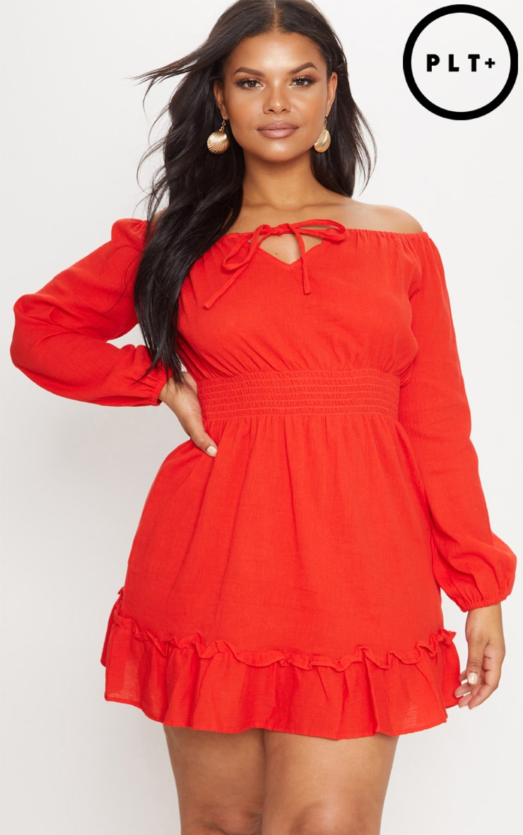 Plus Red Cheesecloth Bardot Swing Dress 1