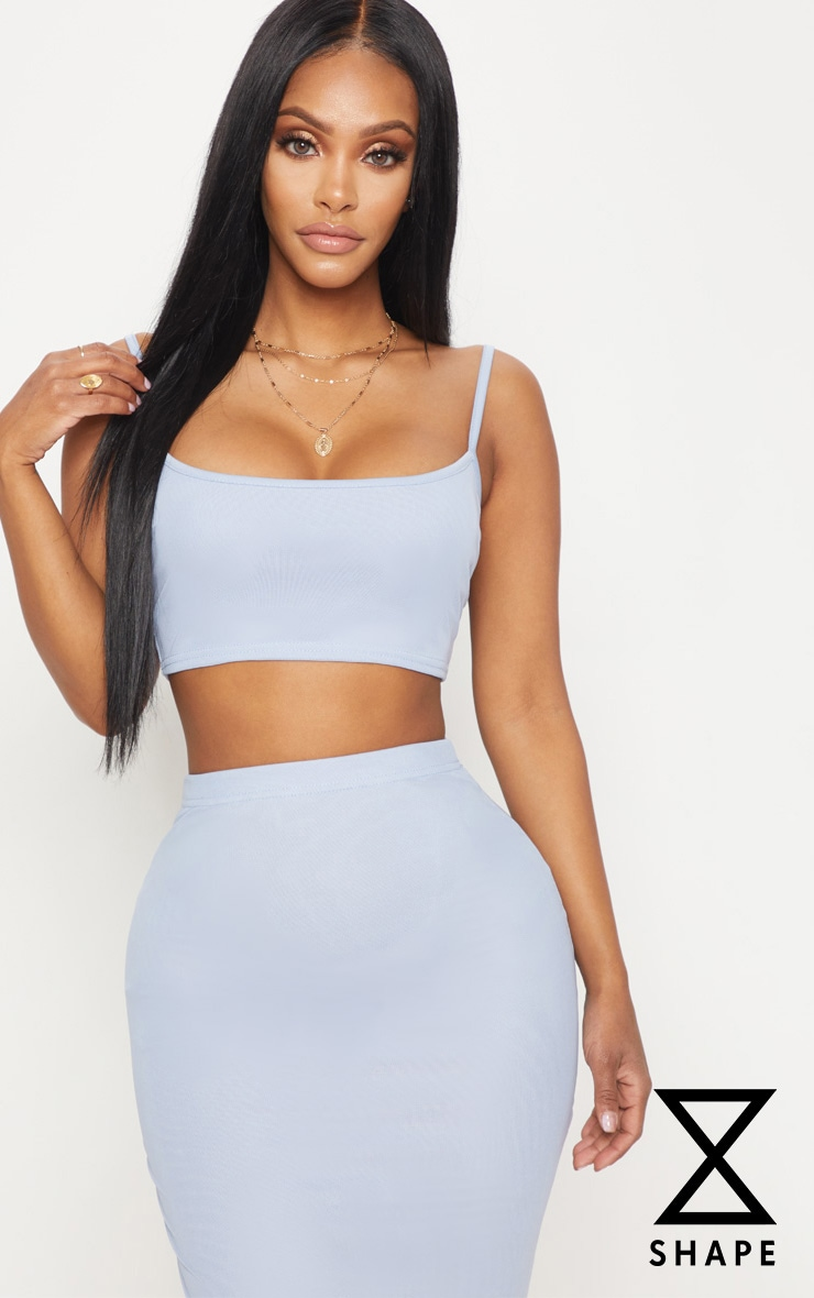 Shape - Crop top en mesh bleu clair 1