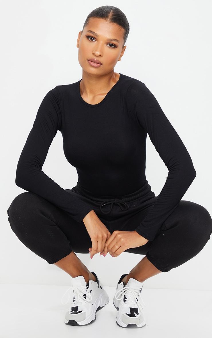 Basic Black Crew Neck Long Sleeve Bodysuit 3