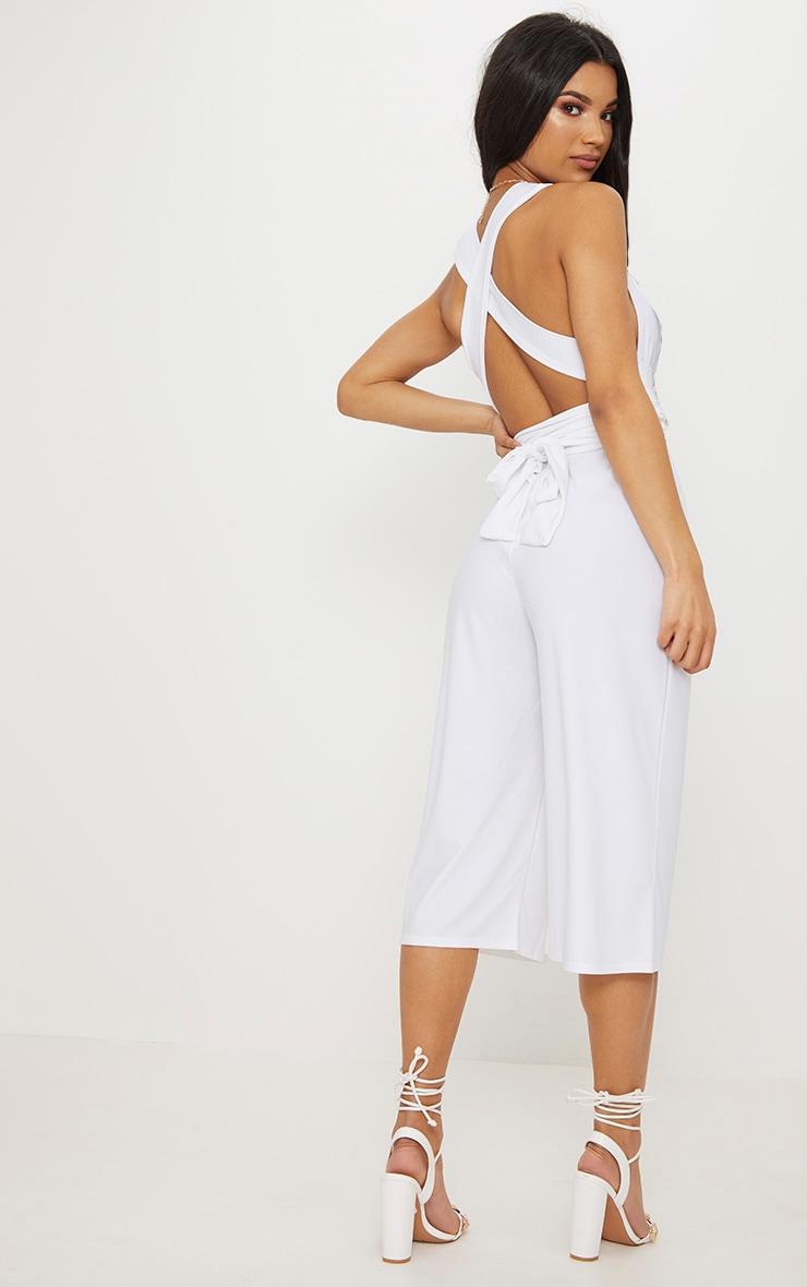 White Crepe Multiway Culotte Jumpsuit 2