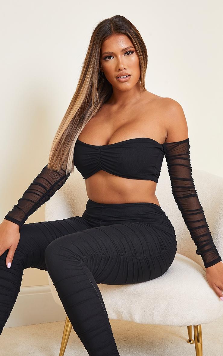 Shape Black Mesh Ruched Sleeve Bardot Crop Top 1