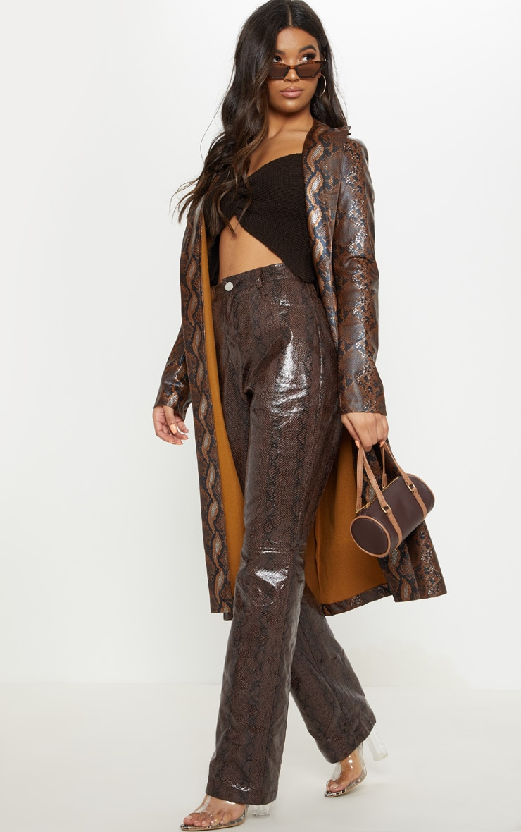 Brown Snake Print PU Trench 4