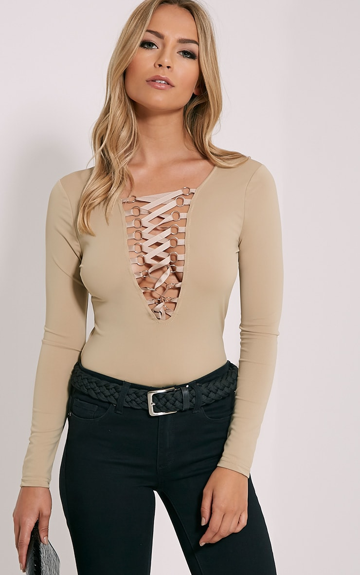 Enya Mocha Lace Up Front Bodysuit 1
