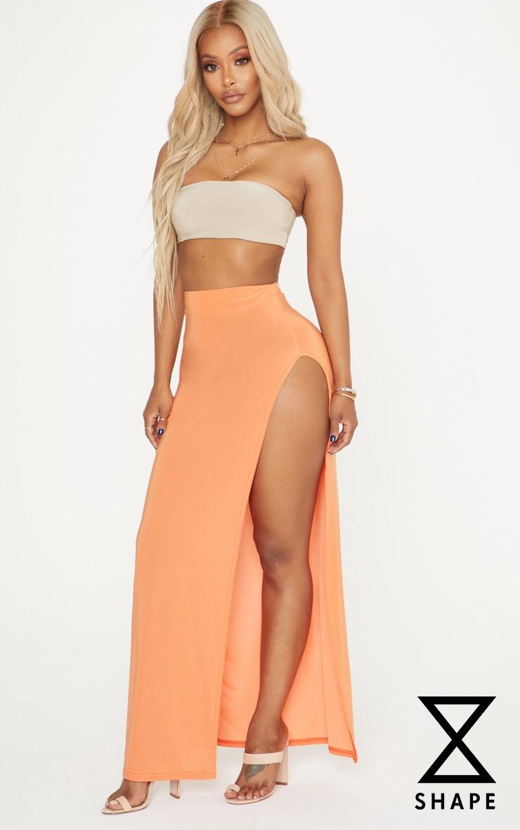 Shape Orange Extreme Side Split Midi Skirt