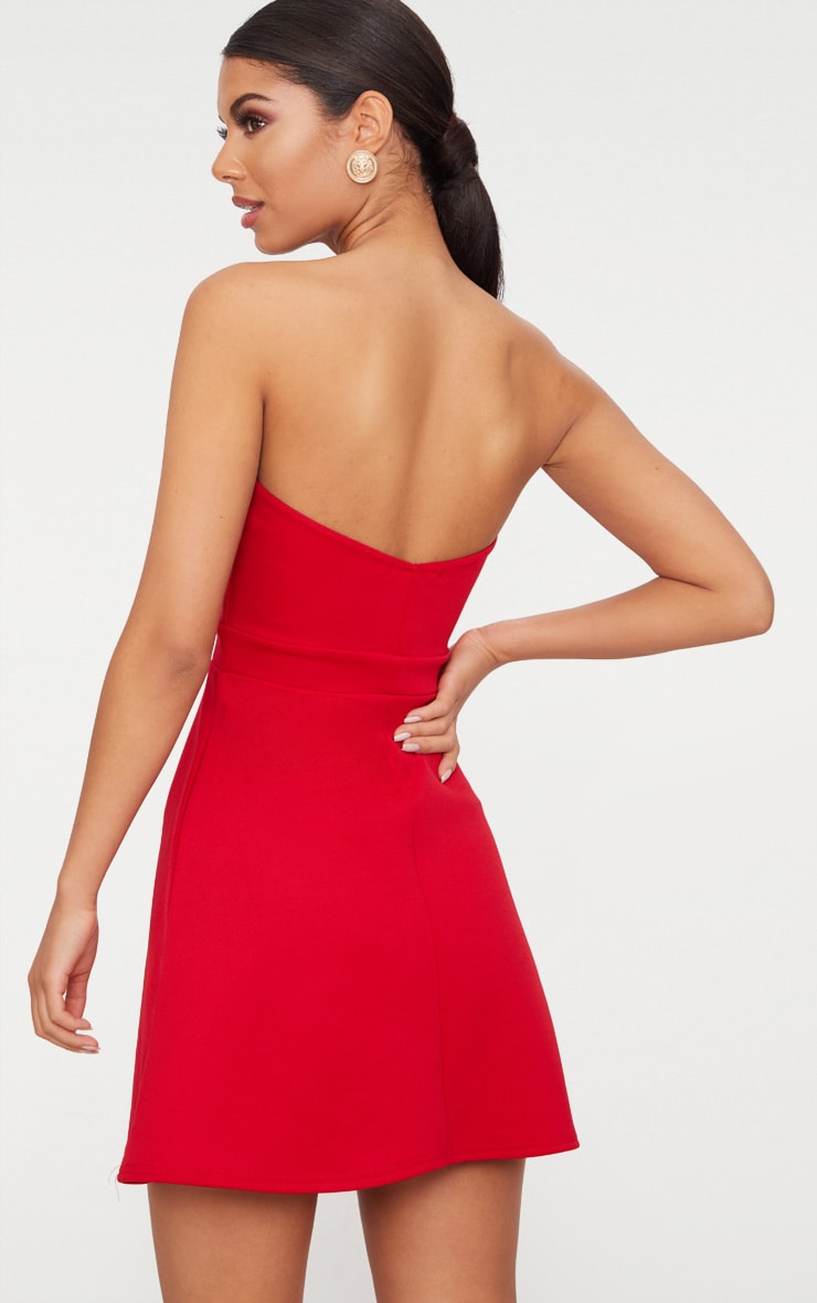 Red Bow Detail Scuba Skater Dress 2