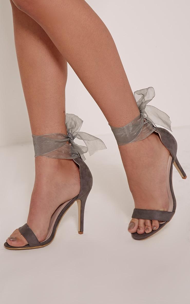 Lauren Grey Faux Suede Ribbon Tie Sandals 1