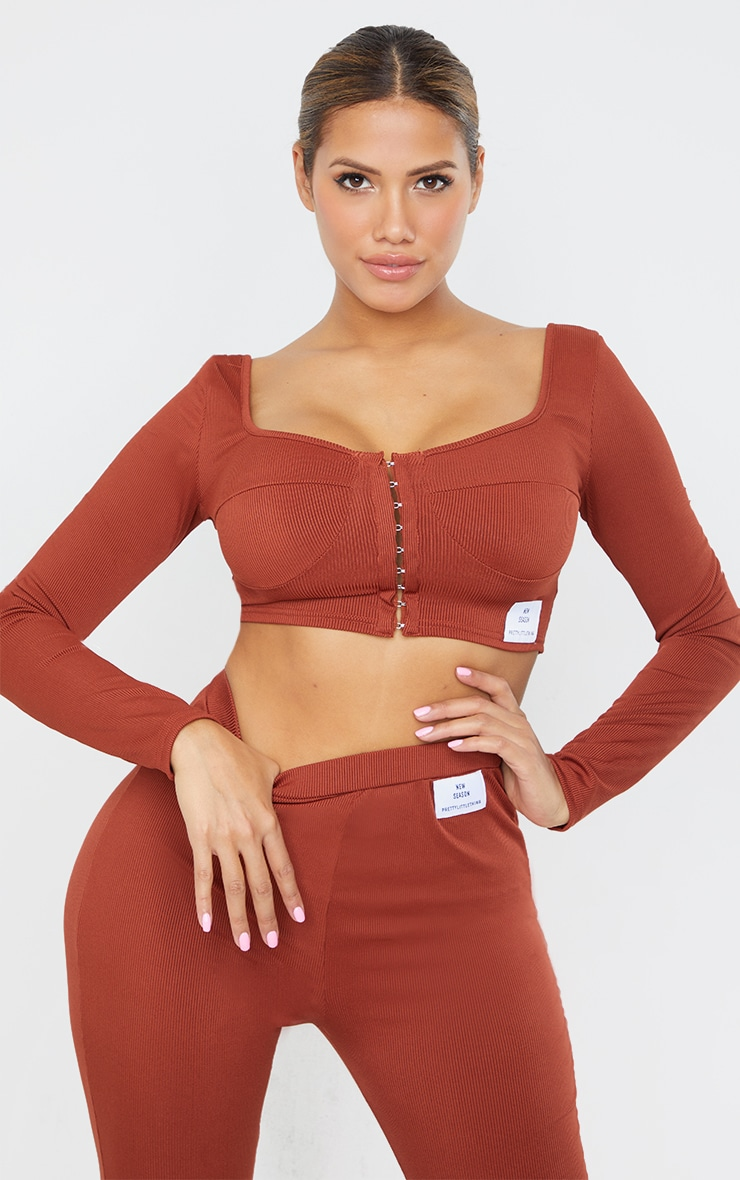 Shape Rust Rib Hook And Eye Cup Detail Crop Top 1
