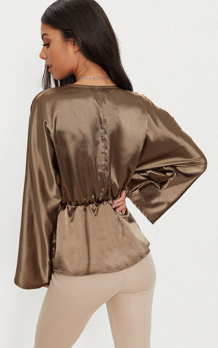 Khaki Satin Plunge Pocket Detail Blouse      2