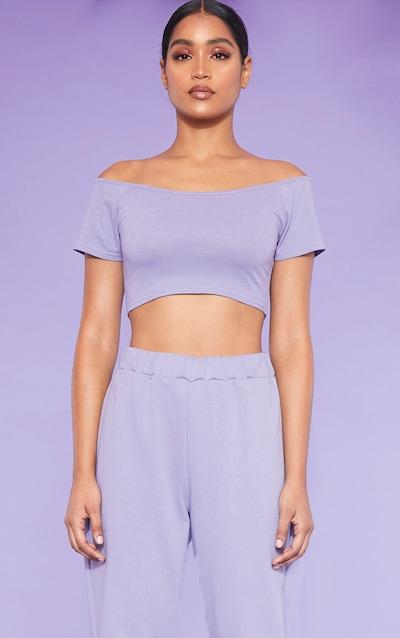 4a3b6760431863 RECYCLED Violet Bardot Short Sleeve Crop Top