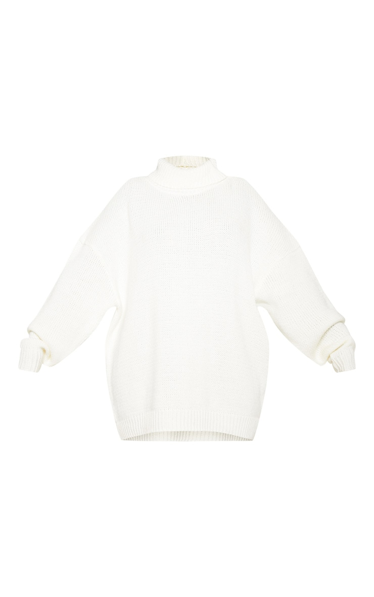 Plus Cream High Neck Fluffy Knit Sweater 4