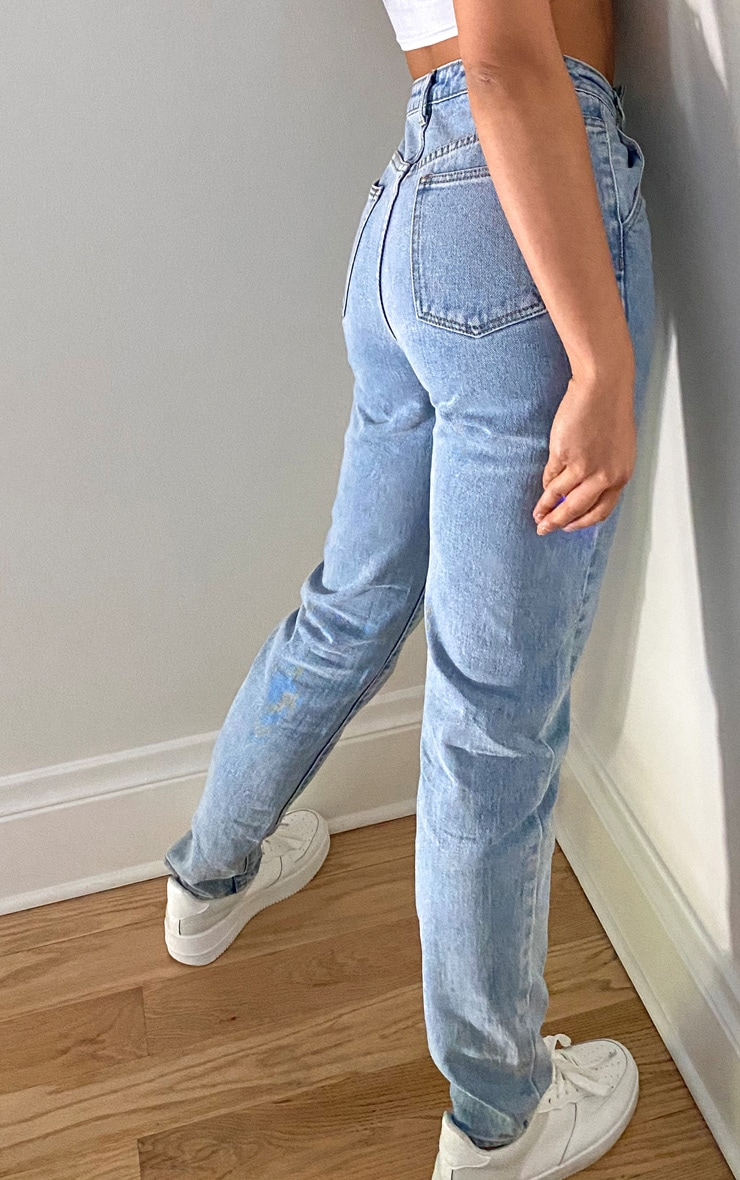 Tall Light Blue Wash Asymmetric Waistband Jeans 3