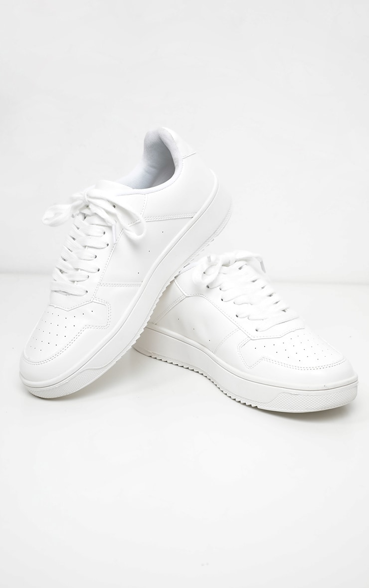 White Lace Up Flatform Sneakers 3