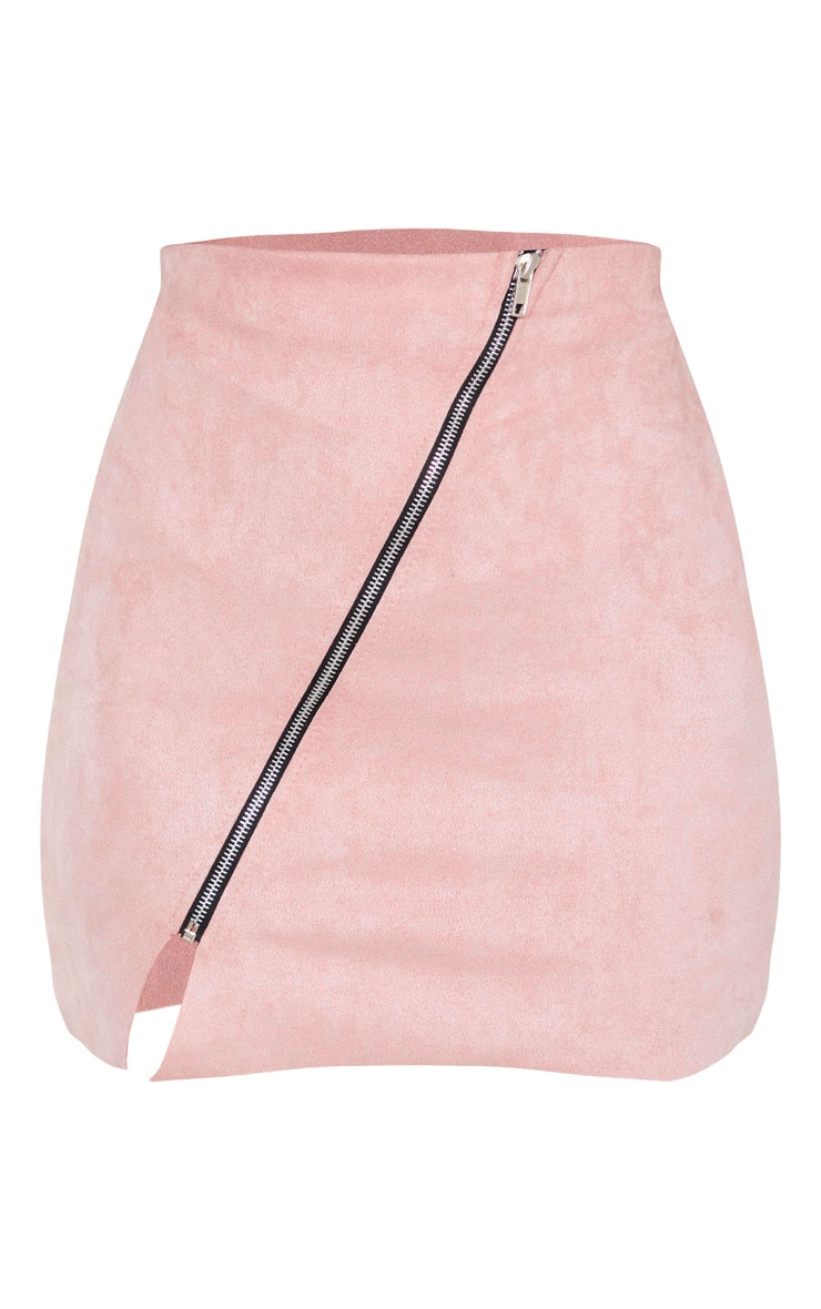 Pink Faux Suede Zip Detail A Line Skirt  3
