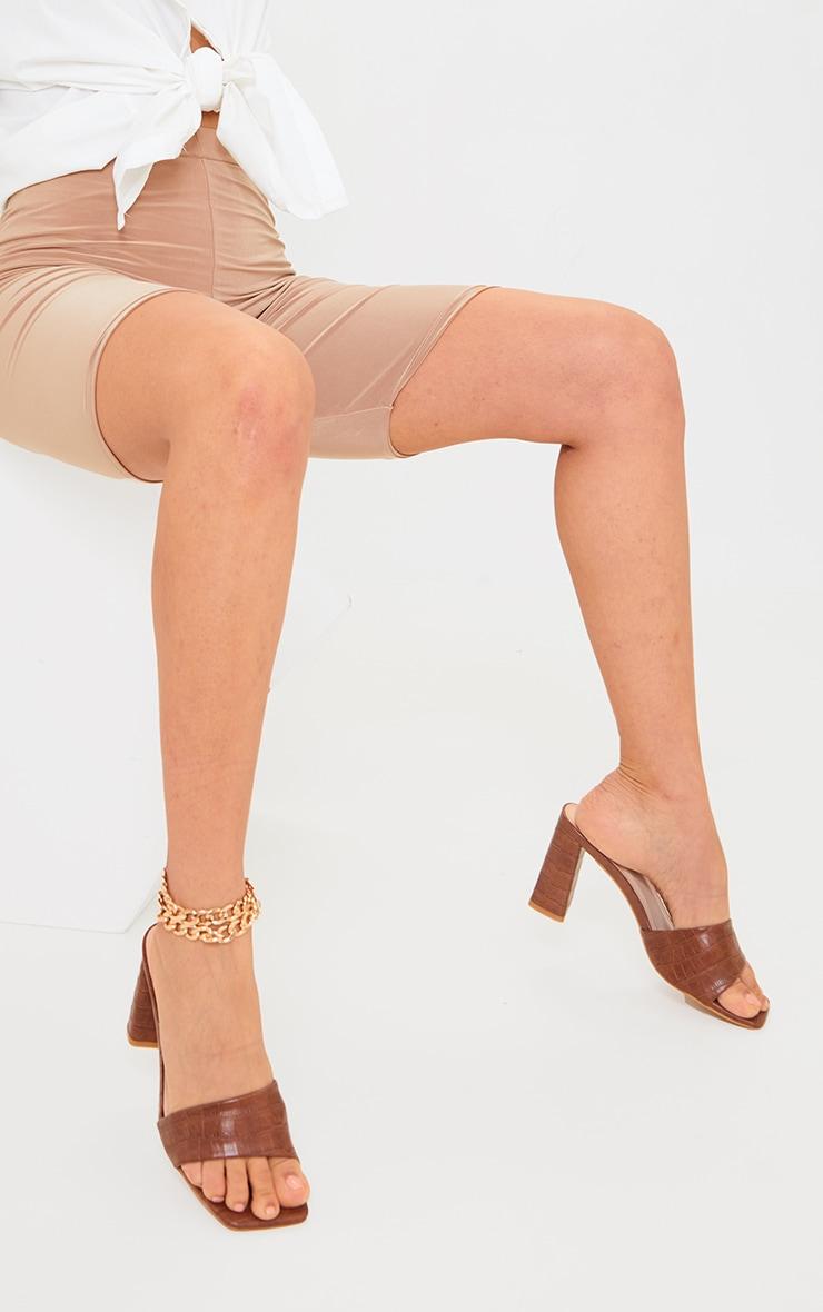 Tan Square Toe High Block Heel Mules 1