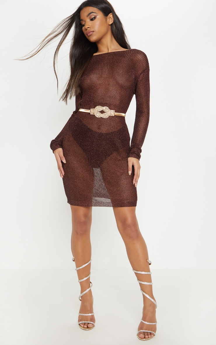 Brown Plunge Back Metallic Knitted Dress 4