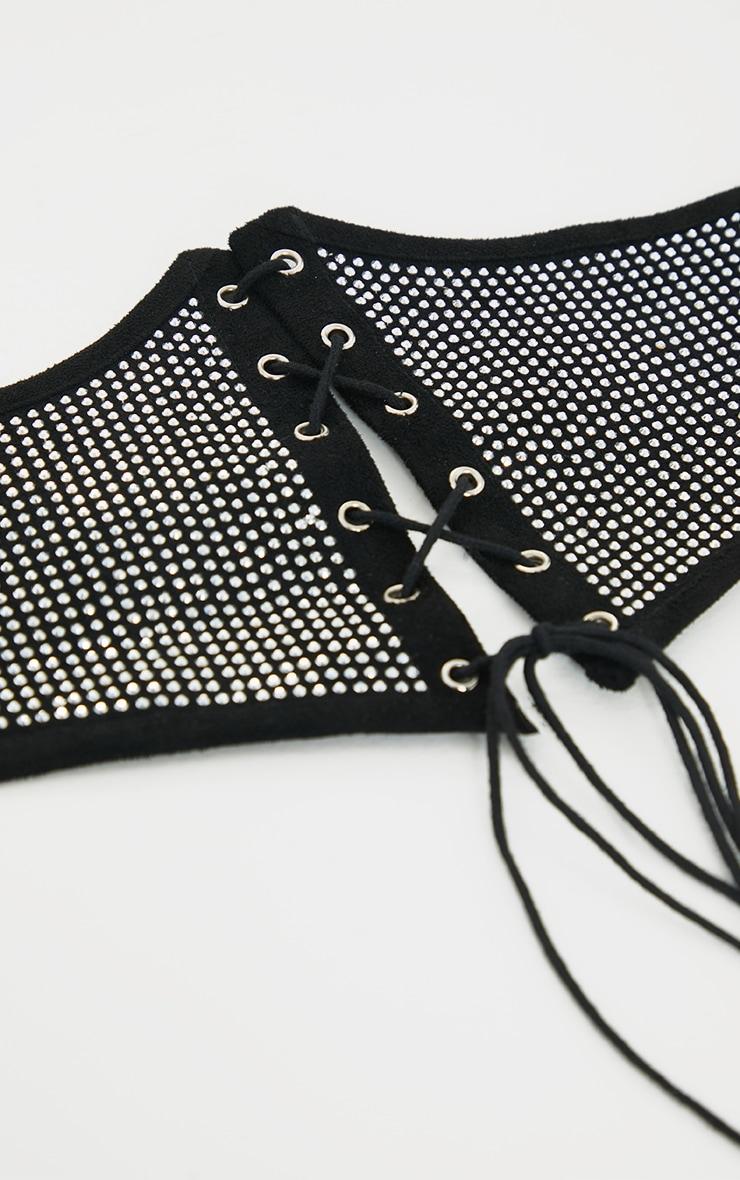 Black Diamante Lace Up Corset Belt 3