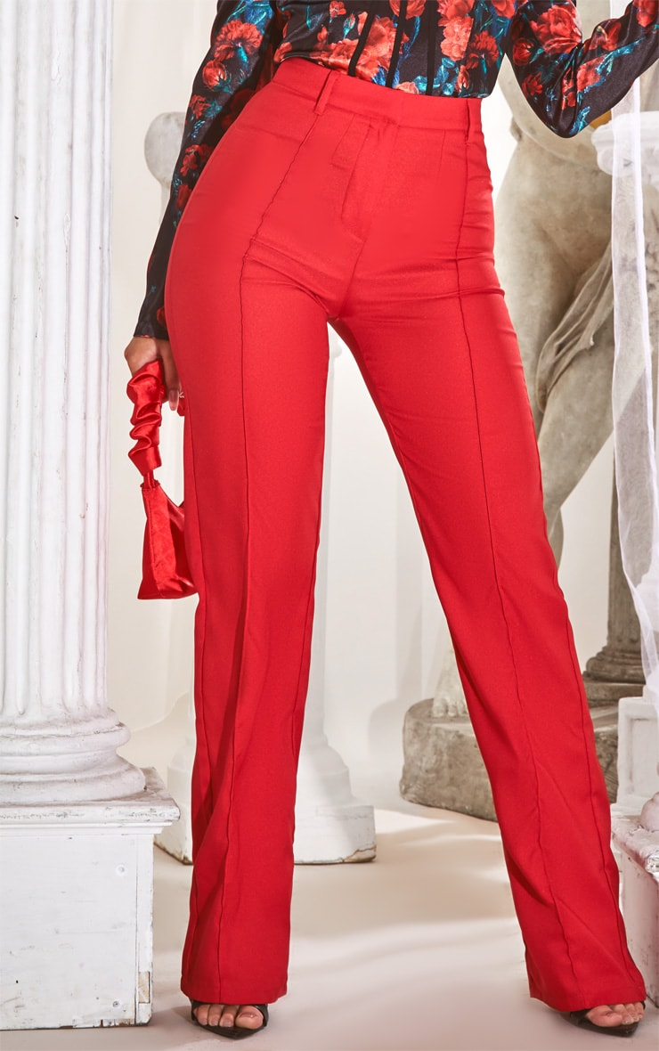 Red High Waisted Straight Leg Pants 2