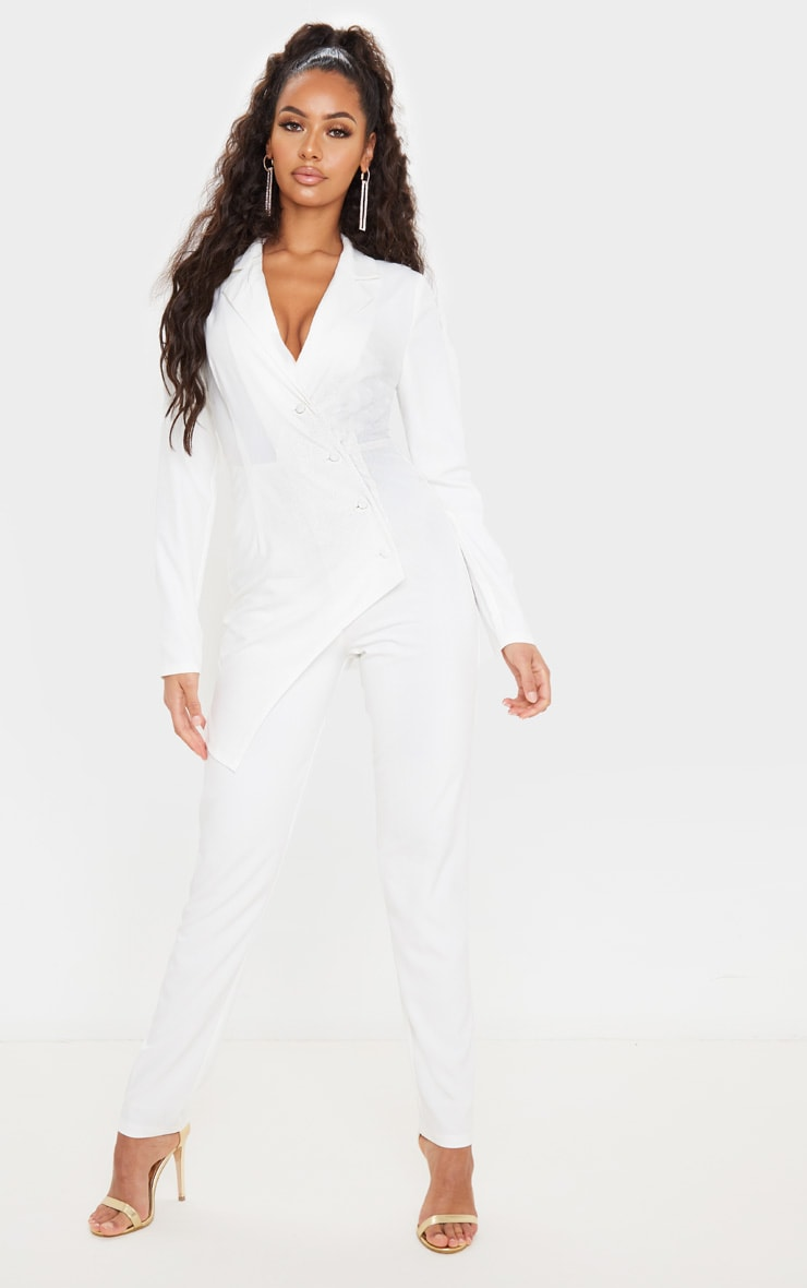 White Button Detail Asymmetric Blazer Jumpsuit 1