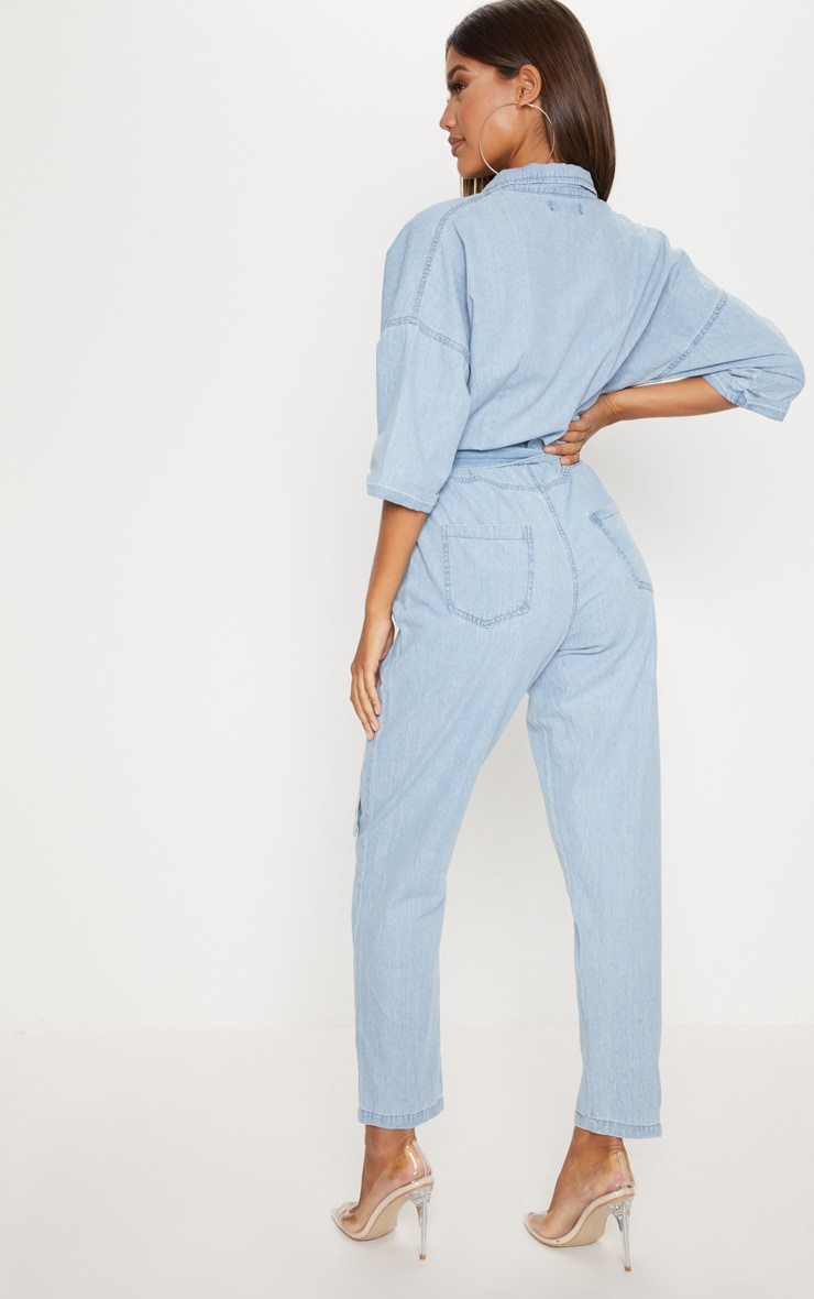 Light Wash Denim Utility Jumpsuit 2
