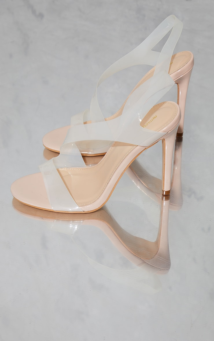 Nude Clear Asymmetric Strap Heeled Sandals 3