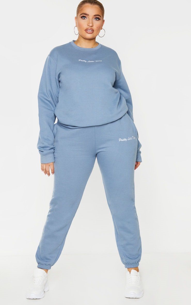 PRETTYLITTLETHING Plus Dusty Blue Embroidered Jogger 1