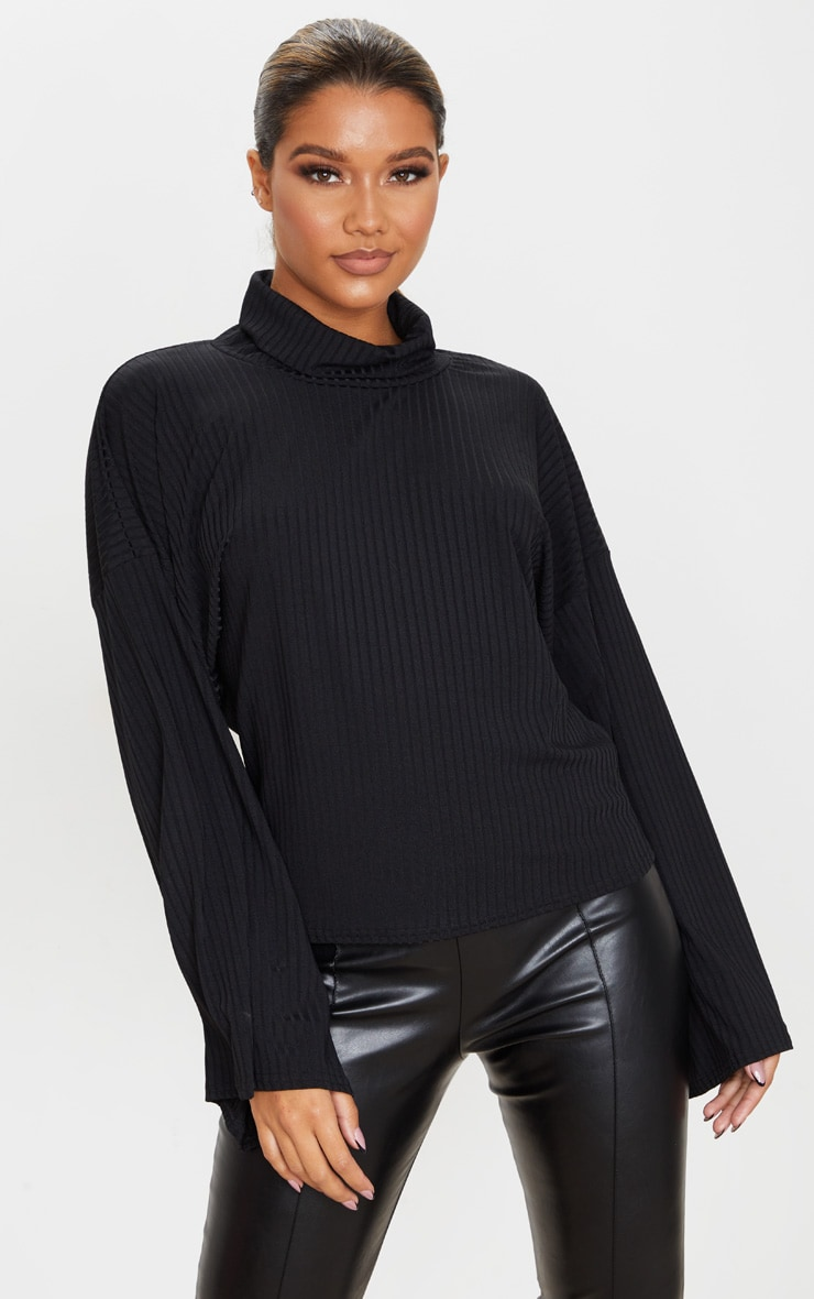 Black Roll Neck Oversized Sweater 1