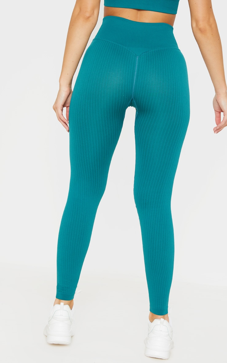 Emerald Green Ribbed Seamless Sports Legging 4