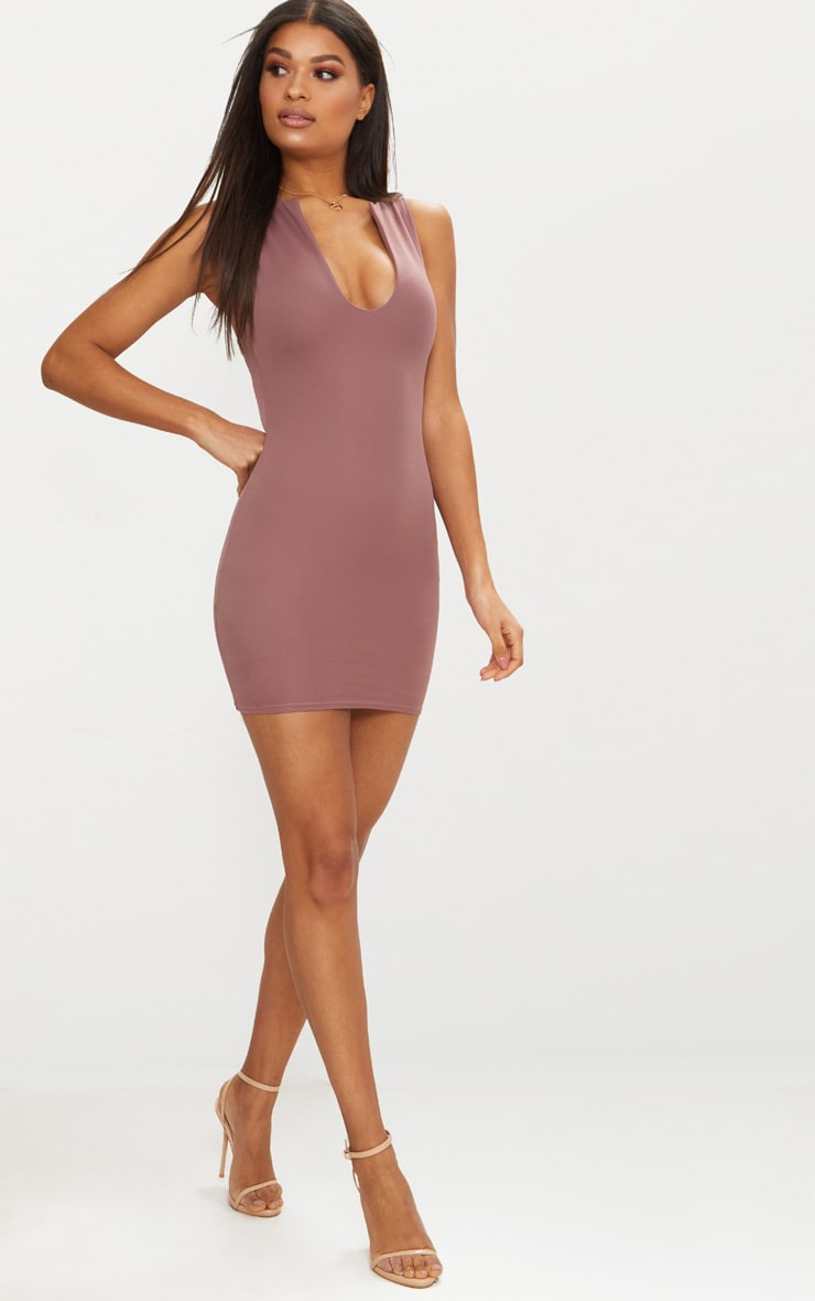 Dark Mauve V Plunge Bodycon Dress 3