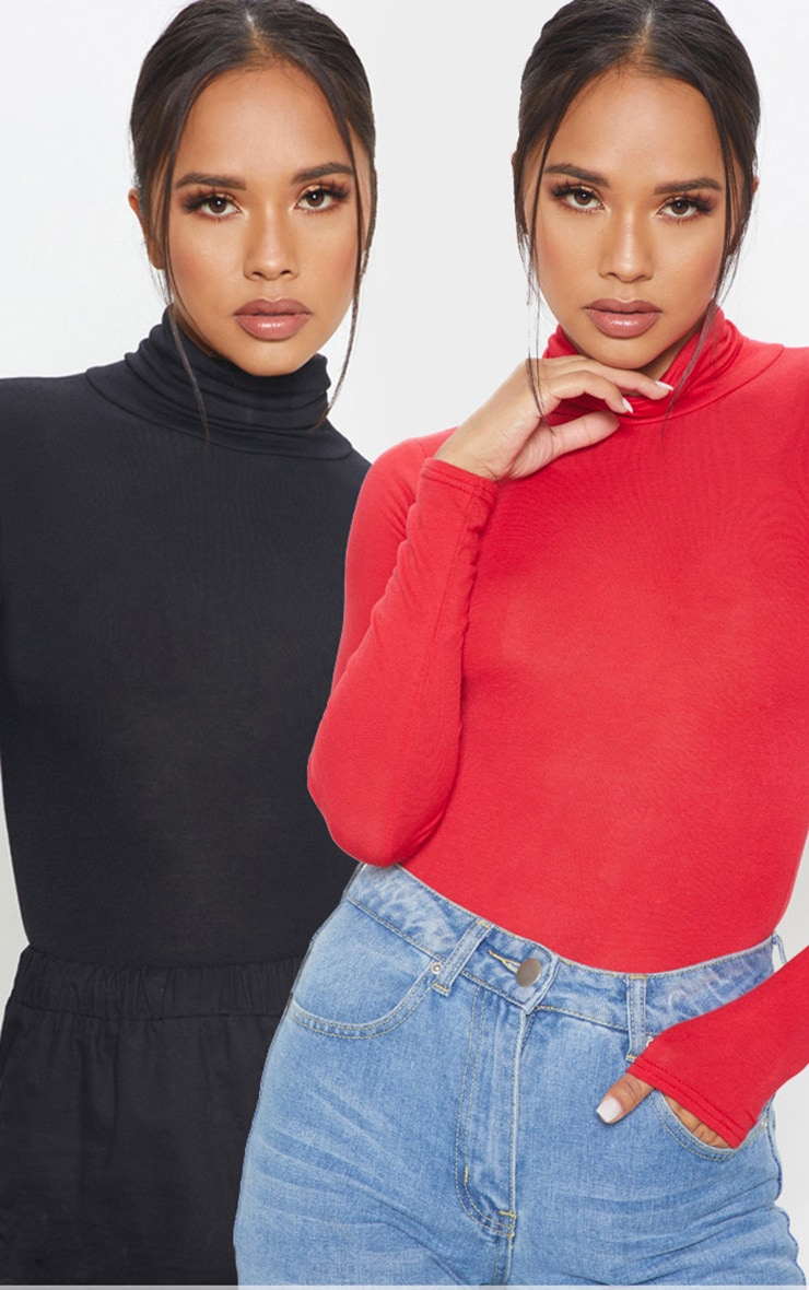 Basic Black & Red 2 Pack Roll Neck Long Sleeve Bodysuit 1