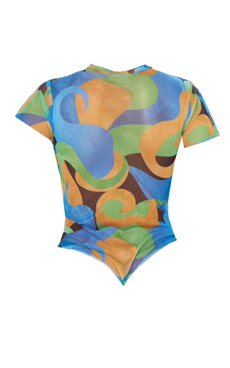 Blue Mesh High Neck Contrast Seam Short Sleeve Bodysuit 6