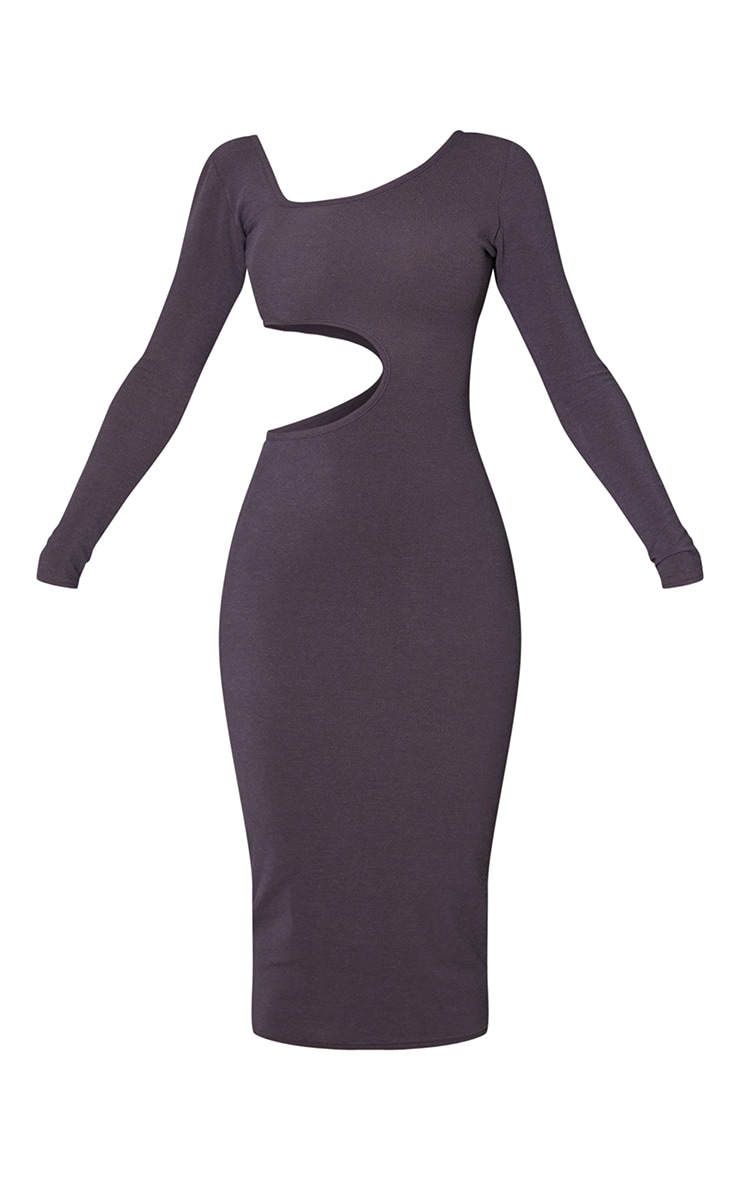 Charcoal Blue Ribbed Long Sleeve Cut Out Midaxi Dress 5