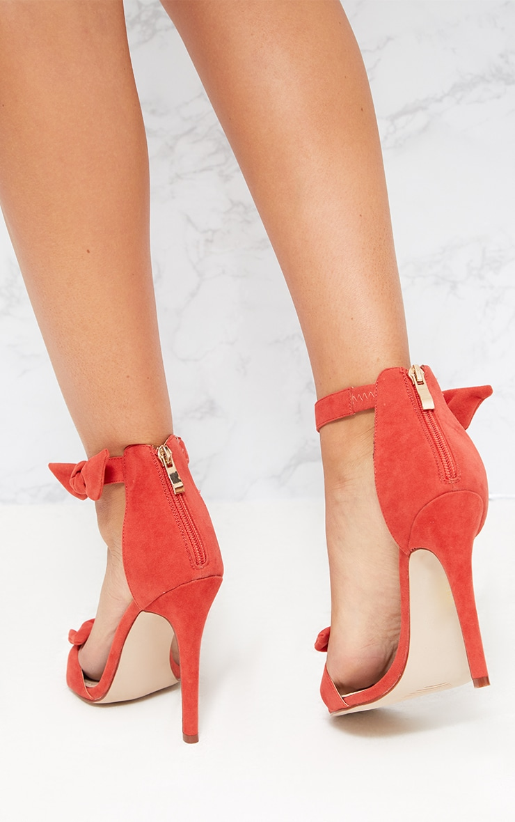 Orange Bow Strap Heeled Sandals  4