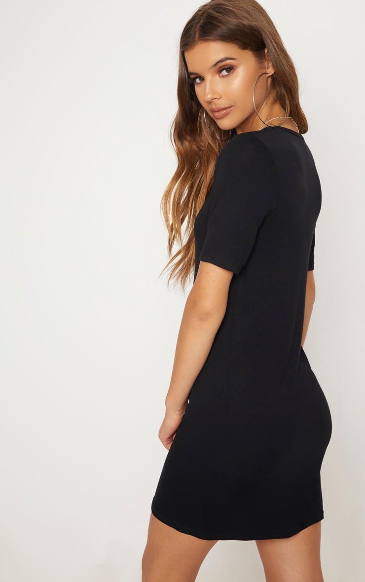 Basic Black Plunge V Neck T Shirt Dress 2