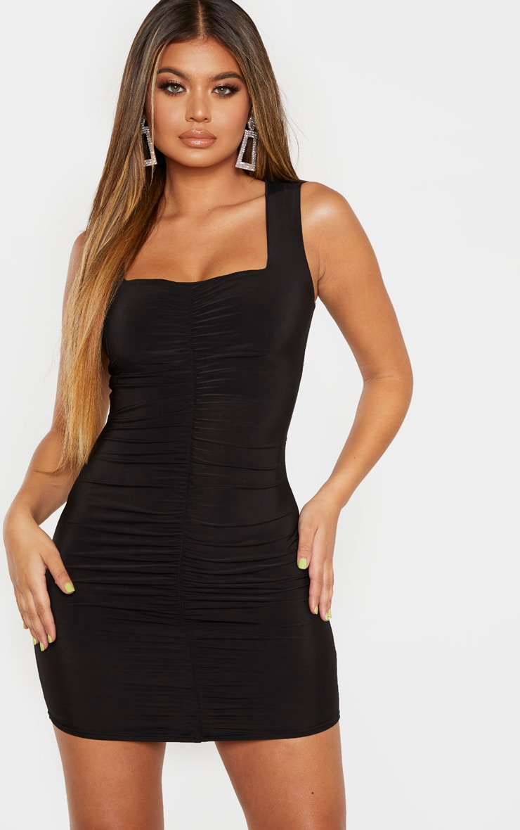 Black Slinky Ruched Front Square Neck Bodycon Dress 1