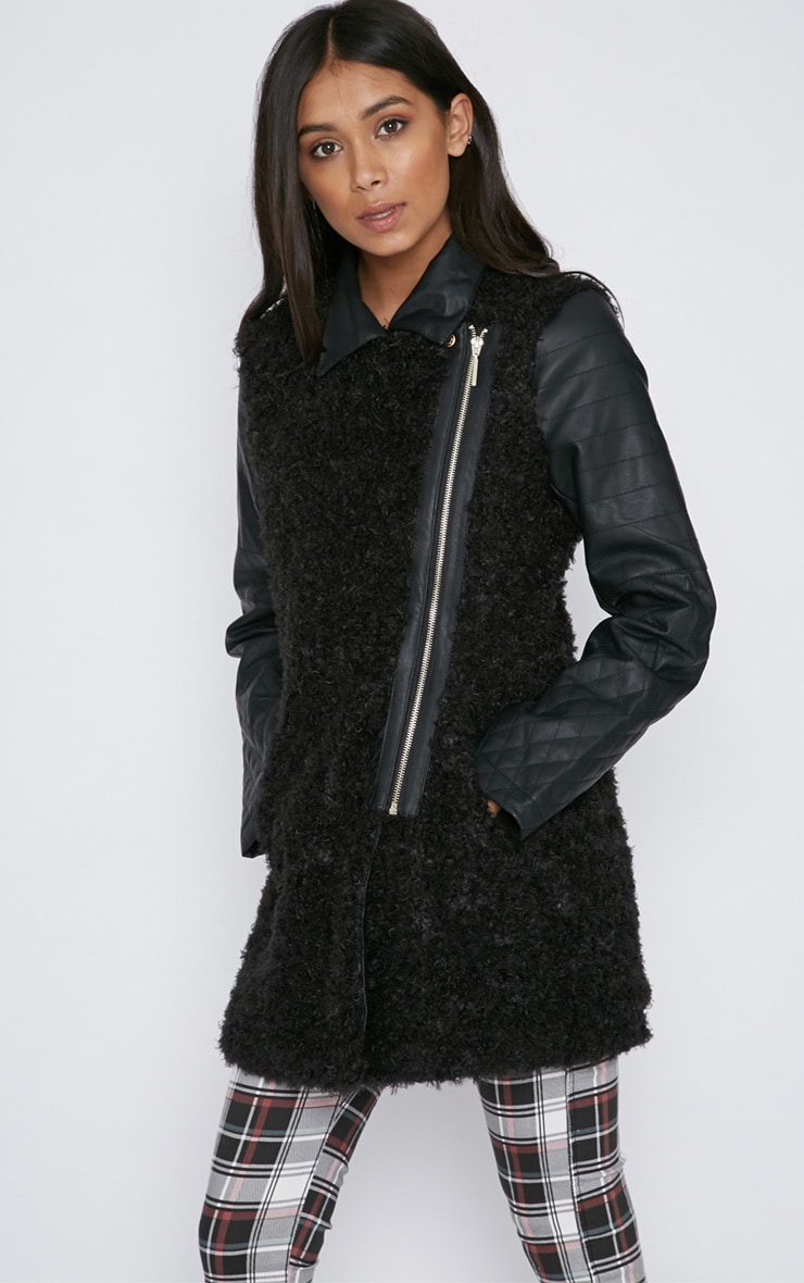 Fawn Black Curly Fur Coat with Leather Sleeves-XS 1
