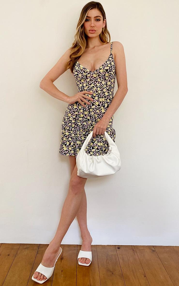 Multi Floral Print Frill Hem Strappy Shift Dress 3