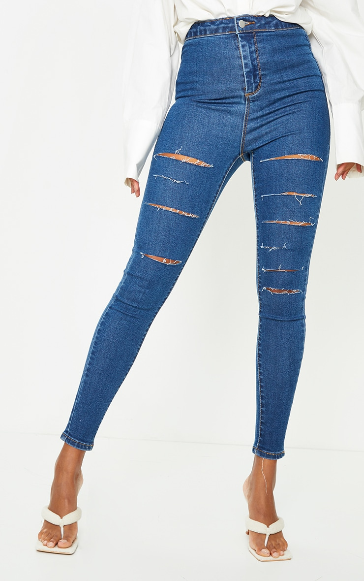 PRETTYLITTLETHING Mid Blue Wash Rip Distressed Disco Skinny Jeans 2