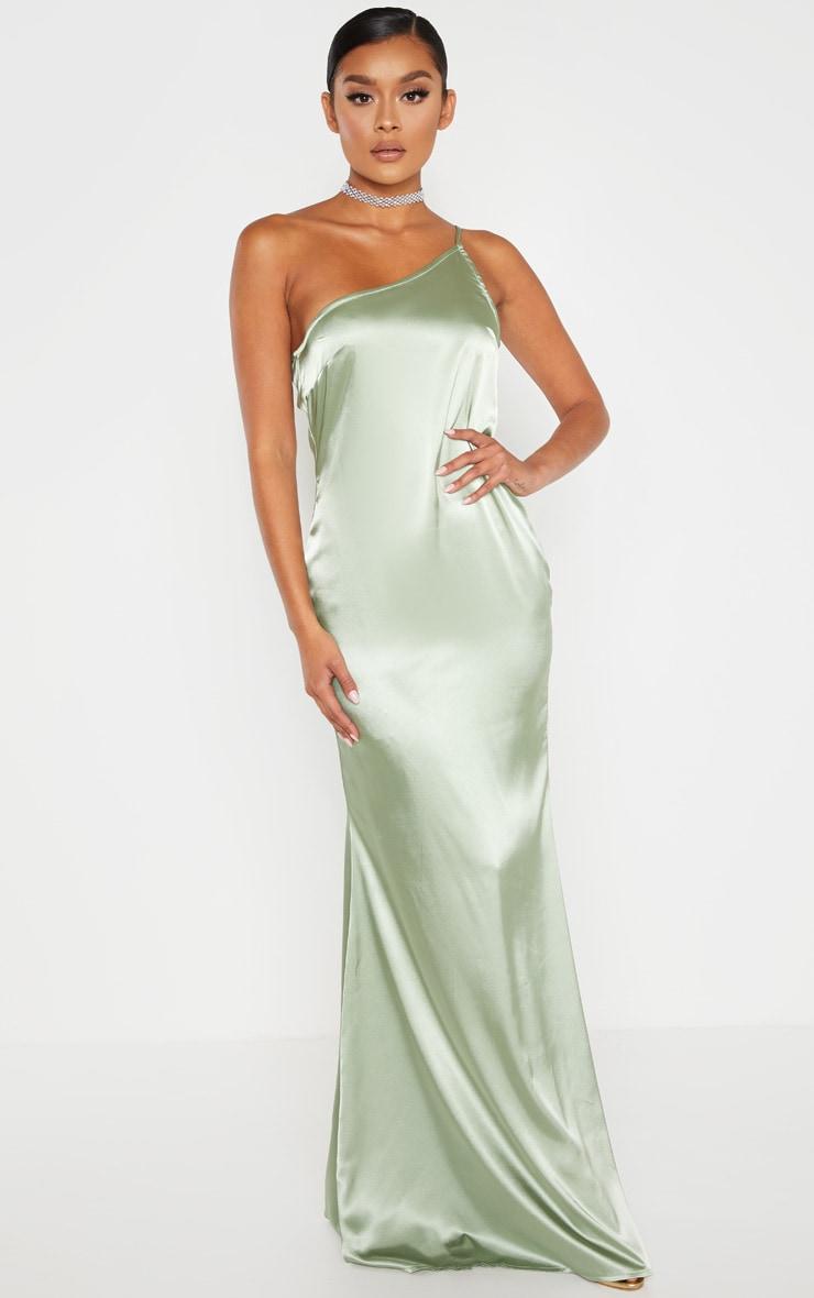 Sage Green Satin One Shoulder Maxi Dress 1