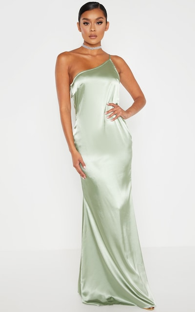ec3e9e51e49 Sage Green Satin One Shoulder Maxi Dress