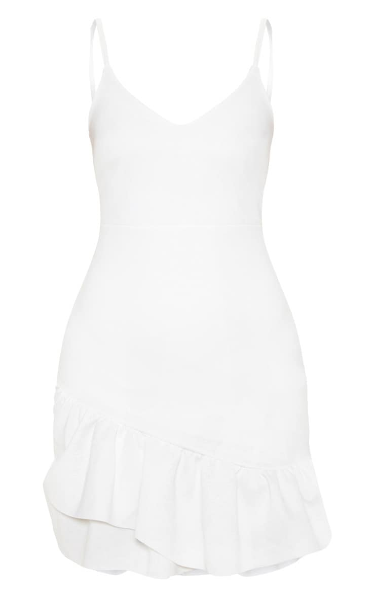 White Strappy Asymmetric Hem Bodycon Dress 3