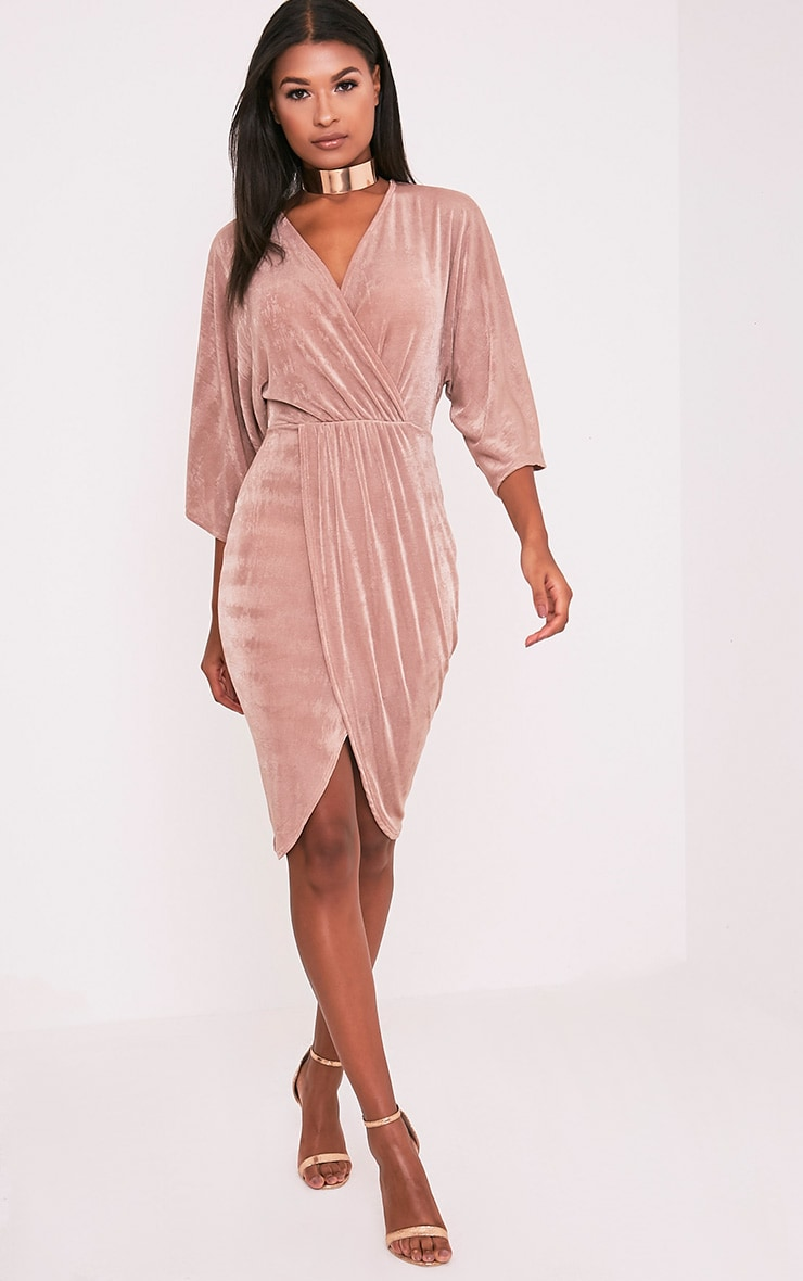 Meliana Dusty Pink Slinky Kimono Sleeve Midi Dress 5