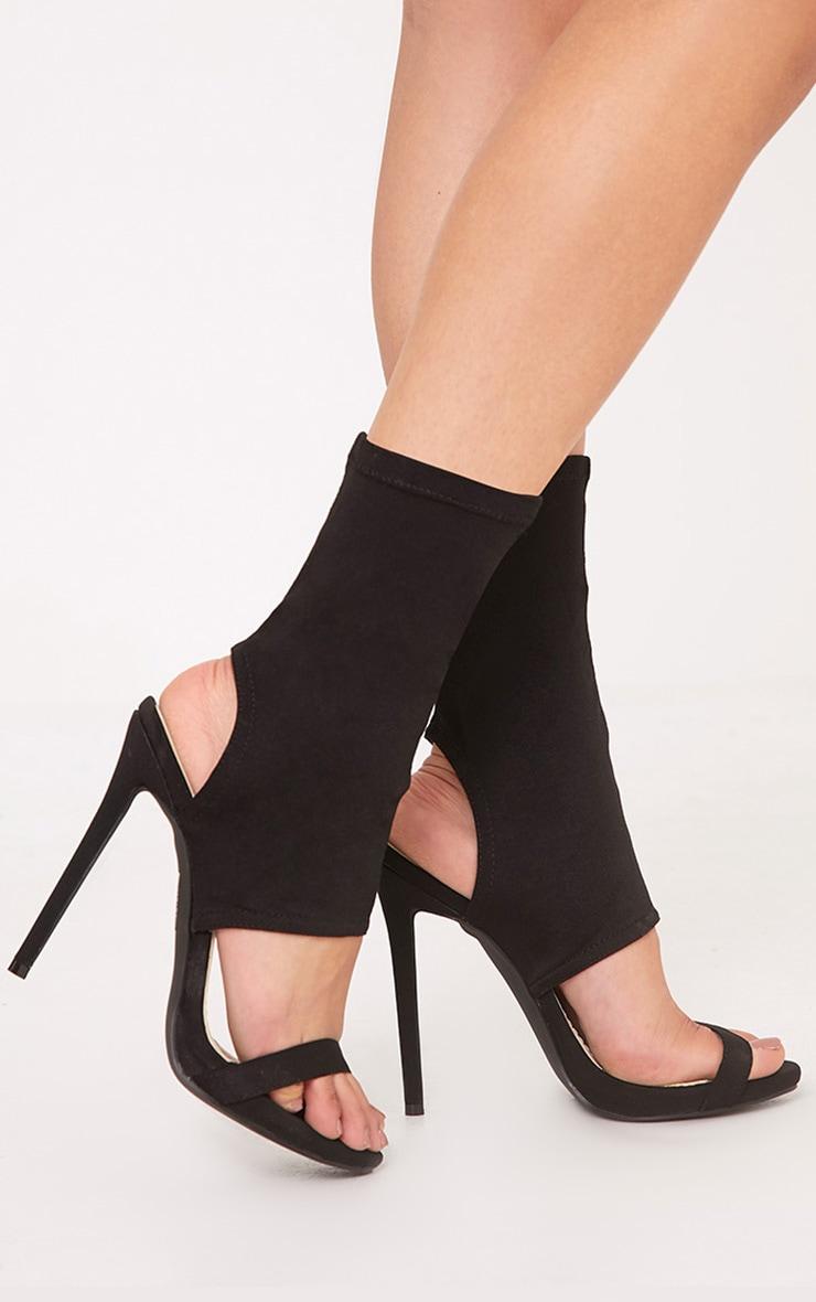 Etta Black Cut Out Sock Heels 1