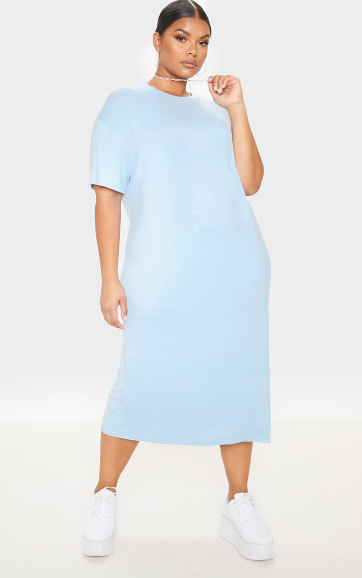 Plus Dusty Blue Oversized Boxy Midi T Shirt Dress 1