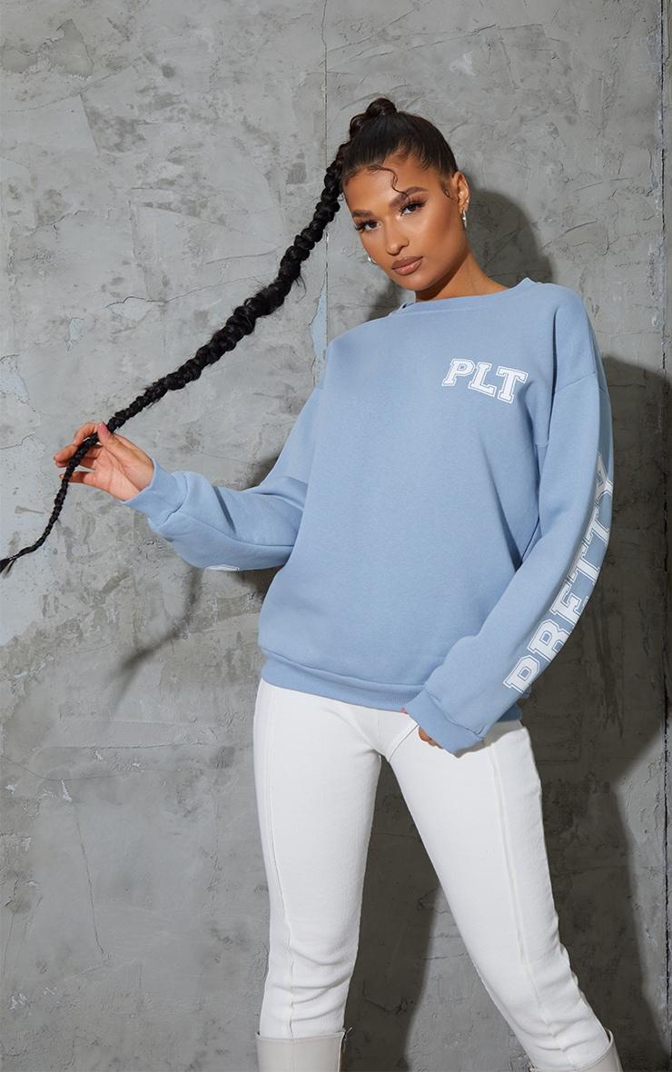 PRETTYLITTLETHING Dusty Blue Back Arm Print Slogan Sweatshirt 2