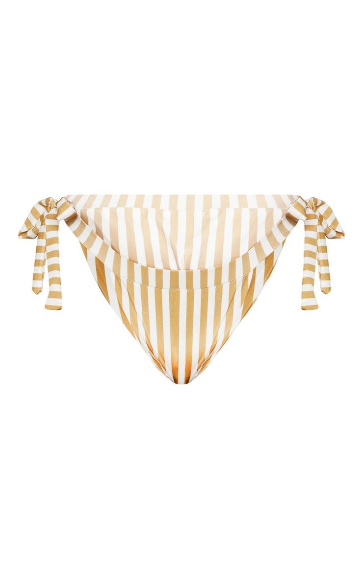Plus Mustard Striped Bow Side Bikini Bottom 3