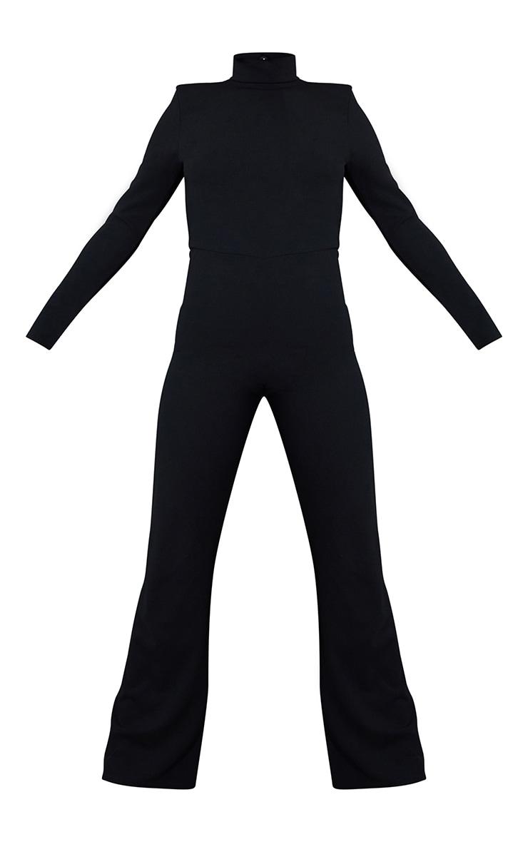 Black Shoulder Pad Thong Back Jumpsuit 5