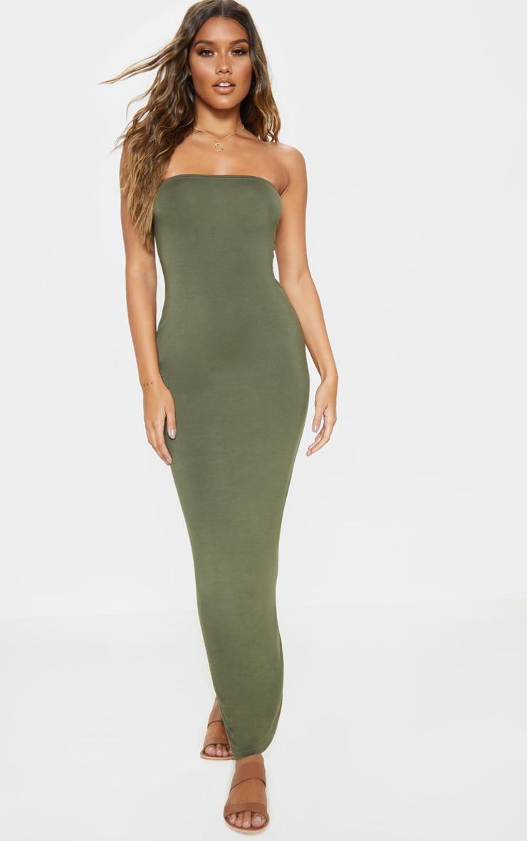 Khaki Bandeau Maxi Dress 4