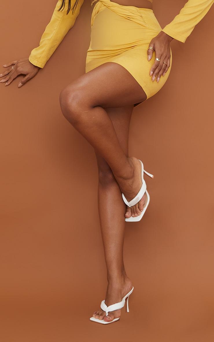 White Pu Tube Strap Toe Thong Mid Heel 1